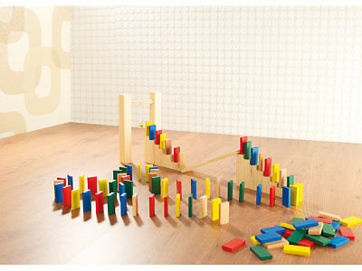 263-teiliges Domino-Set mit Holzsteinen & Action-Elementen (Holz Domino Set)