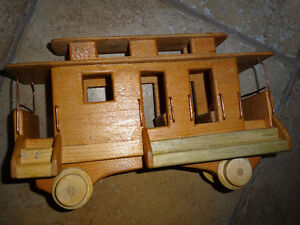 Caboose for train, wheels fit rails, child toy?, wood , folkart