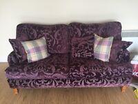Like new, purple patterned fabric 3 seater sofa