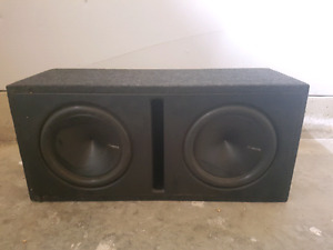 "2 12"" HERTZ HI ENERGY SUBWOOFERS IN CUSTOM BOX"