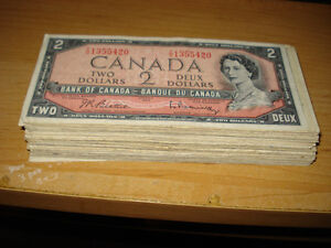 73 Pieces Canada 1954 $2 Bills
