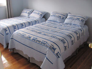 quilted cover and shams with bed skirt