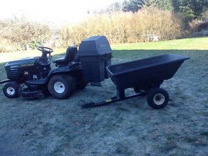 CRAFTSMAN MOWER WITH DOUBLE BAGGER AND HEAVY DUTY DUMP TRAILER