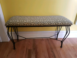 Leopard Print Wrought Iron Bench