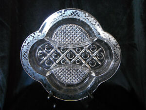 """""""Cape Cod"""" Three Part Dish With Acorn Pattern Silver Overlay."""