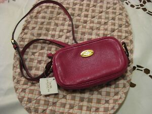 COACH Pebbled Leather Crossbody Pouch, Purse, F53372, Cranberry,