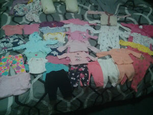 Baby girl newborn and 0-3 mnths clothing lot.