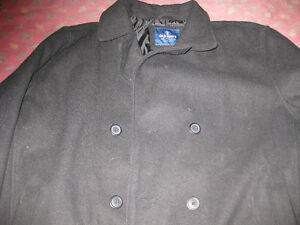 * Men's Old Navy Black Double Breasted Wool Blend Peacoat Jacket