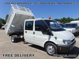 2006 06 FORD TRANSIT, CREW CAB TIPPER, # 60000 MILES # ONE COUNCIL OWNER