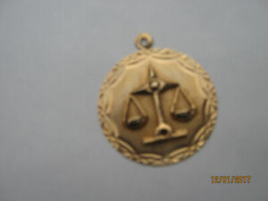NEW Molded 10 carat Gold Scales of Justice Pendant