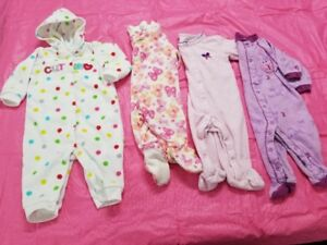 Lot of Girls Sleepers Size 3-6 months