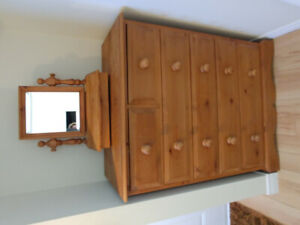 Antique pine dresser and matching small vanity for sale