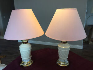 Two Cream Table Lamps, Rose Pink Shades Belleville Belleville Area image 2
