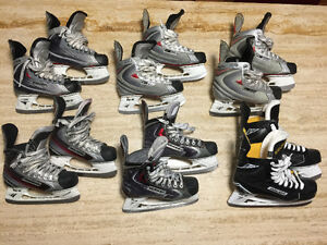 6 Pairs of BAUER Skates New & Used, Kids' & Adult