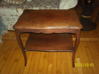 Antique Solid Wood End Table with Shelf