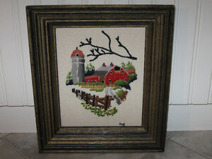 Interesting Framed Needlepoint for a DOWN-HOME-COUNTRY Setting