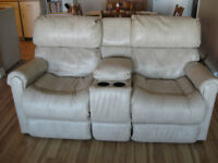 Leather Reclining Love Seat with Center Console $400.00