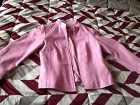 Pink leather coat for sale