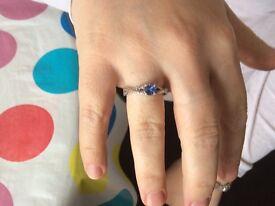 Tanzanite and Diamond Sterling Silver ring