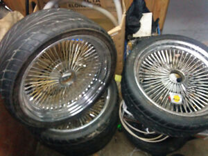 Spoke rims with tires