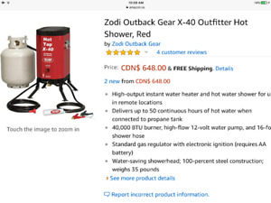 Zodi portable on demand propane hot shower x40 water heater