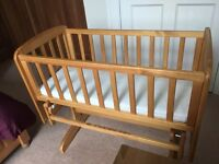 Antique Pine Glider/Rocking Crib - mattress and 3 John Lewis fitted sheets included