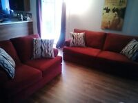 SOFA and LOVESEAT - Burgundy/Red