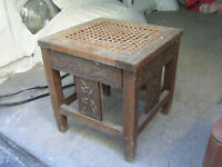 1930s SOLID OAK CANE WICKER TOP CARVED SIDES FOOTSTOOL $20.00