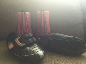 Girls cleats and shin guards