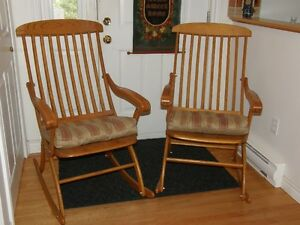 Handcrafted Folding Oak Rocking Chairs
