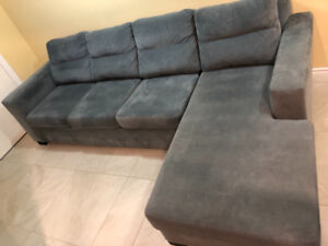 Grey Suede 4seat sofa- sectional