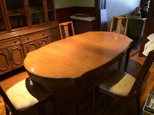 Hardwood Dining Room Set - 5 chairs, table, sideboard, china cab