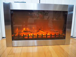 Stainless steel wall mount electric fireplace, Firesense