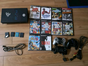 PS 2 with 10 games, 2 mem cards and 3 controllers