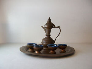 Miniature Copper Coffee Urn with 4 Cups & Tray