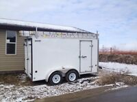 Eavestrough machine and 6x12 trailer for sale