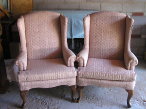Two Sklar Pepplar Solid Wood Rose Wing Back Chairs