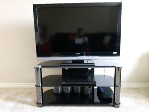 """SONY Bravia 46"""" TV with TV Stand and Sony DVD Player"""
