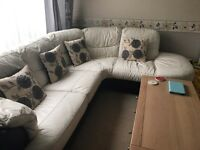 Dfs large white and black leather corner suite and electric chair