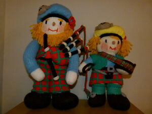 Unique Hand Knit Scottish Piper and Drummer Set