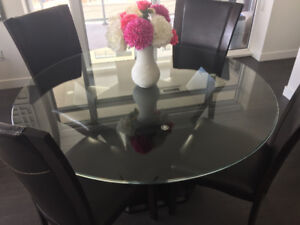 "53"" Glass Dining Table - 6 chairs"