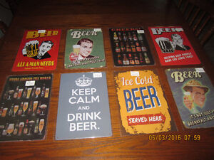 Beatles, Beer, Hot Rod, motorcycle and car tin signs