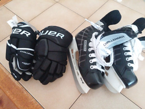 Boys hockey skates and gloves