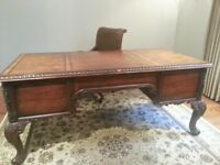 Handsome Solid Red Oak Desk and Leather Chair