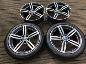 "4x BMW 5 6 Series 19"" M6 Style Alloy wheels & 2 Tyres M Sport M5 M6 E63 E64 E60 E61 167 M"