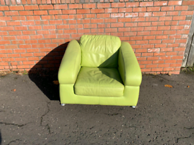 Green leather armchair £45