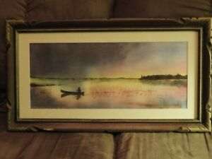 Beautiful Watercolour Painting of a Canoeing Scene