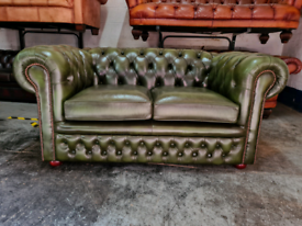 Antique Green Chesterfield 2 Seater Sofa