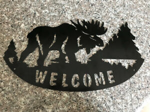 Moose Welcome With Tress Metal Art/Gate or Fence Insert Sign
