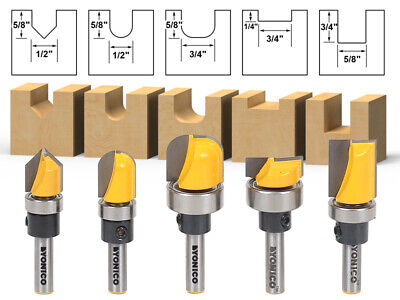 - 5 Bit Template Router Bit Set - 1/4